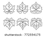 a set of grape leaves  drawn by ... | Shutterstock .eps vector #772554175