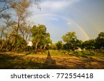 Rainbow Over Rural Ranch In...