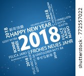 word cloud with new year 2018... | Shutterstock .eps vector #772557022