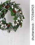 christmas wreath of spruce with ... | Shutterstock . vector #772560925