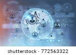 global network hologram and an... | Shutterstock . vector #772563322
