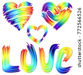 vector set of rainbow heart and ... | Shutterstock .eps vector #772566526