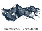 Hand Drawn Mountains Isolated...
