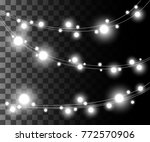 horizontal glowing light silver ... | Shutterstock .eps vector #772570906