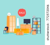 garage sale  unnecessary things.... | Shutterstock .eps vector #772572046