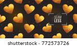 gold polygonal shape  heart on... | Shutterstock .eps vector #772573726