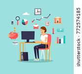 businesswoman working at... | Shutterstock .eps vector #772574185