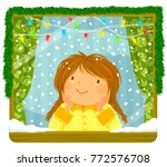little girl looking at the snow ... | Shutterstock .eps vector #772576708