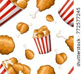 seamless pattern fried chicken... | Shutterstock .eps vector #772577245