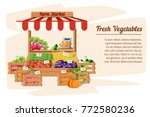 front view market wood stand... | Shutterstock .eps vector #772580236