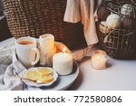 cozy winter morning at home.... | Shutterstock . vector #772580806