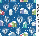 winter houses and trees.... | Shutterstock .eps vector #772583482