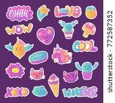 vector patch set   80s 90s... | Shutterstock .eps vector #772587352