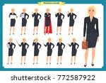 set of young businesswoman... | Shutterstock .eps vector #772587922