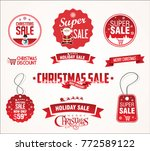 super sale christmas badges and ... | Shutterstock .eps vector #772589122