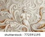 a woman's figure stylized as a... | Shutterstock . vector #772591195