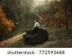Girl In Vintage Dress Running...