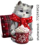 Little Kitten Drinking A...