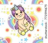 pattern star unicorn | Shutterstock .eps vector #772594675