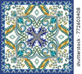 ornate bandanna with big blue... | Shutterstock .eps vector #772603408