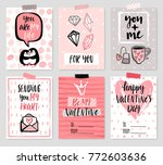 valentine s day card set   hand ... | Shutterstock .eps vector #772603636