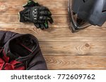 overhead view of biker... | Shutterstock . vector #772609762