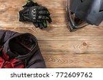 overhead view of biker... | Shutterstock . vector #772609762