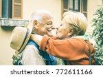 happy senior retired couple... | Shutterstock . vector #772611166