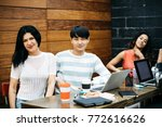 multiethnic group of young... | Shutterstock . vector #772616626