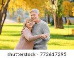cute elderly couple dancing in...   Shutterstock . vector #772617295