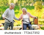 cute elderly couple with... | Shutterstock . vector #772617352