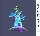 pixel art cartoon alien... | Shutterstock .eps vector #772625632