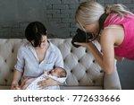 newborn baby mother photoshoot... | Shutterstock . vector #772633666