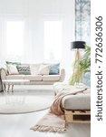 blanket on settee in bright...   Shutterstock . vector #772636306