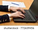 young woman hands using a...   Shutterstock . vector #772639456