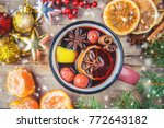 christmas drink. selective... | Shutterstock . vector #772643182