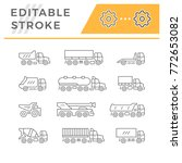 set line icons of trucks | Shutterstock .eps vector #772653082