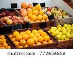 shelf in the vegetable store...   Shutterstock . vector #772656826