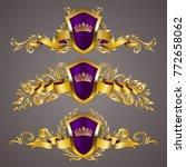 set of golden royal shields... | Shutterstock .eps vector #772658062