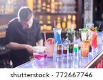 the barman prepares a set of...   Shutterstock . vector #772667746