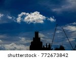 the sky behind the tower... | Shutterstock . vector #772673842