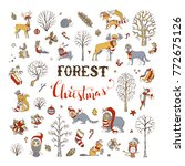Vector Forest Christmas Set....