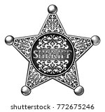 sheriff badge star in an etched ... | Shutterstock .eps vector #772675246