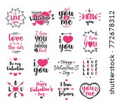 valentines day emblem set with... | Shutterstock .eps vector #772678312