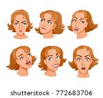 sat of cartoon young women face ... | Shutterstock .eps vector #772683706