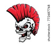 skull head with red punk hair... | Shutterstock .eps vector #772687768