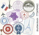 travel stamps set   france and... | Shutterstock .eps vector #772690462