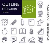 set of outline icons of... | Shutterstock .eps vector #772694992
