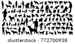 Stock vector big people and dogs silhouettes set 772700938