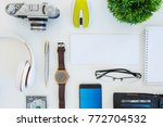 high angle shot of items on a... | Shutterstock . vector #772704532